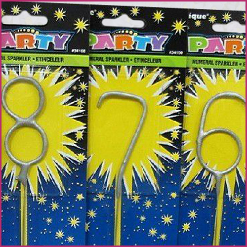 Number Shaped Sparklers in their Packaging