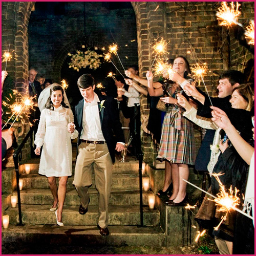 36 Inch Wedding Sparklers During A Sendoff Line