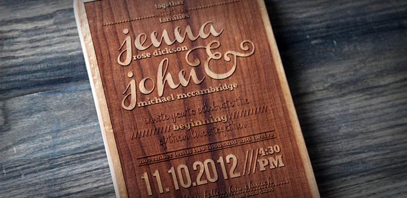 Engraved Wood Wedding Invitation